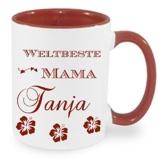 Kaffeebecher WELTBESTE MAMA ++ Tasse mit Namen Namentasse personalisiert nach Wunsch Weihnachts-Geschenk auch für Opa,Oma, Papa, Bruder, Schwester, Tochter... -