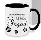 Kaffeebecher WELTBESTE OMA ++Tasse mit Namen Namentasse personalisiert nach Wunsch Weihnachts-Geschenk auch für Opa,Mama, Papa, Bruder, Schwester, Tochter... -