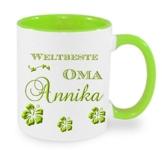 Kaffeebecher + WELTBESTE OMA + Tasse mit Namen Namentasse personalisiert nach Wunsch super Weihnachtsgeschenk -