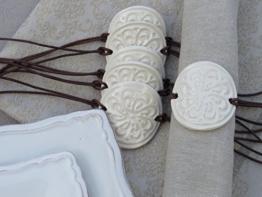 Keramik Serviettenringe Serviettenhalter Weiß -