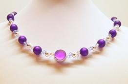 Kette Lila Lunaperle 2-reihig glitzernd - Polarisperlen - Kristalle von Swarovski® - versilberte Perlen - 44 cm -