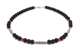Kette schwarz silber pink - Metallperlen mit Ornament - Kristalle von Swarovski® -