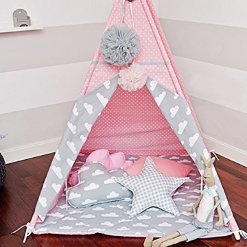 kinder tipi zelt mit 4 stangen wimpelkette bodenmatte. Black Bedroom Furniture Sets. Home Design Ideas