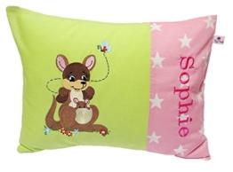 Kissenbezug 30 X 40 cm mit Känguru Stick und Namensstick Grün Sterne Rosa Weiß Namenskissen Taufe Kissenhülle Babykissen 100 % Baumwolle BW -