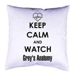 Kissenhülle mit Druck Keep Calm Grey's Anatomy Kissenbezug mit Motiv 40x40 cm beidseitig bedruckt mit oder ohne Füllung -