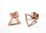 Kleine Dreiecke ~ Rosévergoldete Geometrie Ohrstecker 0,9cm -