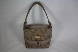 kleine Handtasche beige/gold Schlangenprägung -