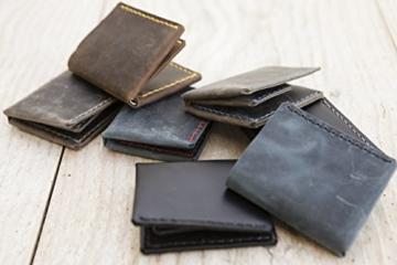 kleiner blauer Herren Geldbeutel MONO aus hochwertigem Leder, handgenäht -