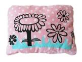 Kleines Kissen mit Blumenwiese, 19x25cm, handgemacht mit Siebdruck, handbedruckt -