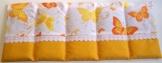 Körnerkissen mit Option Namen bestickt Schmetterling gelb orange 50x20cm 100% Baumwolle -