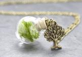 Kugelkette echtes Moos Lebensbaum Anhänger -