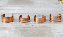 Kupfer Armreif geometrisch minimalistisch verschiedene Formen -