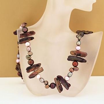 LaCatella Perlenkette braun natur Biwa, echte Perlen, 47 cm, Silber, Zuchtperlen, Süßwasserperlen -