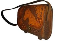 Lederhandtasche, Echtleder, Punzierung Pferd mit Fohlen, Handtasche, handgefertigt, punziert -