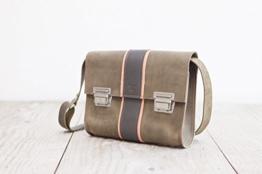 Lederhandtasche, graue Umhängetasche, femininer Crossbodybag -