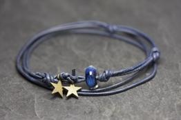 little stars - blau/alaska Lederarmband -