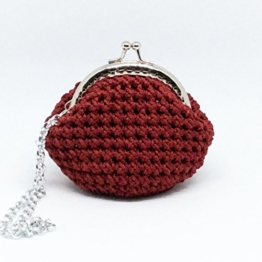 LOLA - Handmade in Italy - Handtasche elegant. Kleine Kupplung. Rot. Evening red clutch purse / coin wallet, with vintage kiss clasp. -