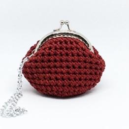LOLA - Handmade in Italy - Handtasche elegant. Kleine Kupplung. Rot. Evening red clutch purse / coin wallet, with vintage kiss clasp. -