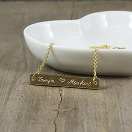 LOVE...Kette mit Gravur Messagekette Botschaft Namenskette vergoldet -