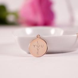 LOVE YOU...Namenskette, personalisierte Kette mit Gravur, Kette für Valentinstag - rosévergoldet -