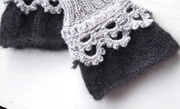 Luxuriöse Stulpen Armstulpen Spitze Schwarz Grau - von BaRock -