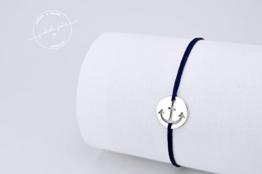 MARINE - zartes layering Armband (925 Sterling Silber & Nylon) -
