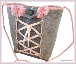 MascherlTascherl Grau-Rosa Trachtentasche Dirndltasche Tasche mit Herzen und Mascherl - Schöne Dirndl Handtasche für Trachtenbälle und Oktoberfest. -