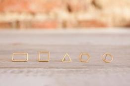 Messing Stecker Ohrringe geometrische Formen silber gold rose -