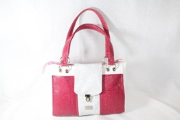 modische Handtasche Pink/Weiss Schlange -