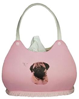 Mops auf Rosa - Handtaschenform - Kosmetikbox Handtasche -