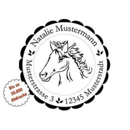 Motiv-Stempel mit Adresse, Stempel mit Motiven, Adress-Stempel personalisiert rund 40 mm, Pferd, selbstfärbend mit integriertem Stempelkissen, Automatikstempel -