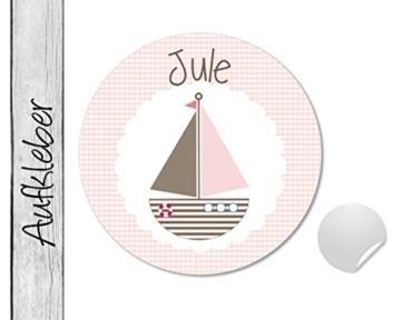 Namensaufkleber • Boot rosa • 24 Stück (N88) Aufkleber / Sticker vom Papierbuedchen -