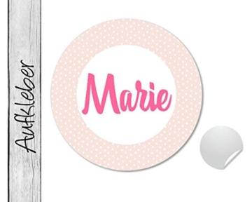 Namensaufkleber • Dots rosa • 24 Stück (N61) Aufkleber / Sticker vom Papierbuedchen -