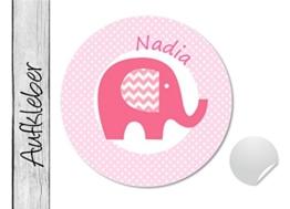 Namensaufkleber • Elefant rosa • 24 Stück (N6) Aufkleber / Sticker vom Papierbuedchen -