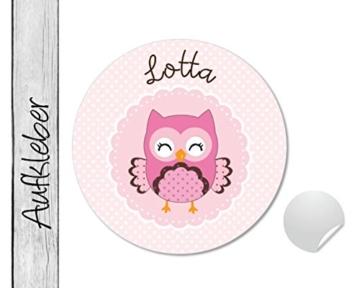 Namensaufkleber • Eule Dots • 24 Stück (N58) Aufkleber / Sticker vom Papierbuedchen -