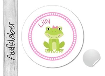 Namensaufkleber • Froschmädchen • 24 Stück (N12) Aufkleber / Sticker vom Papierbuedchen -