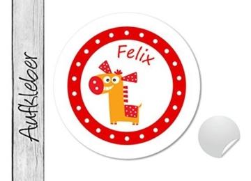 Namensaufkleber • Happy Horse rot • 24 Stück (N16) Aufkleber / Sticker vom Papierbuedchen -