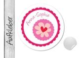 Namensaufkleber • Herzblümchen • 24 Stück (N17) Aufkleber / Sticker vom Papierbuedchen -