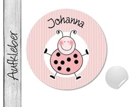 Namensaufkleber • Käfer rosa • 24 Stück (N67) Aufkleber / Sticker vom Papierbuedchen -