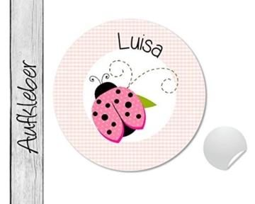 Namensaufkleber • Käferchen rosa • 24 Stück (N77) Aufkleber / Sticker vom Papierbuedchen -
