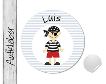 Namensaufkleber • Pirat Luis • 24 Stück (N57) Aufkleber / Sticker vom Papierbuedchen -