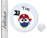 Namensaufkleber • Pirateneule • 24 Stück (N76) Aufkleber / Sticker vom Papierbuedchen -