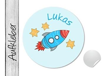 Namensaufkleber • Rakete • 24 Stück (N30) Aufkleber / Sticker vom Papierbuedchen -