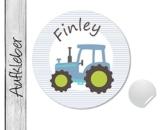 Namensaufkleber • Traktor blau • 24 Stück (N83) Aufkleber / Sticker vom Papierbuedchen -