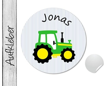 Namensaufkleber • Traktor grün • 24 Stück (N49) Aufkleber / Sticker vom Papierbuedchen -