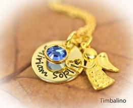 Namenskette aus 333 Gelbgold mit Geburtsstein und Schutzengel -