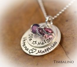 Namenskette Kinder Glück 925 Silber mit Geburtssteinen -