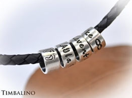 Namenskette, Lederkette, Silberanhänger, Männerkette, Herrenschmuck -