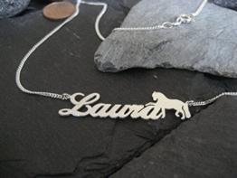 Namenskette mit Pferd in 925er Silber (NK01/Pferd) -