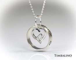 Namenskette, Ring, Herz, 925 Silber -